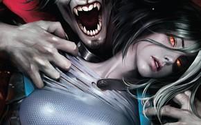Picture girl, fantasy, red eyes, Marvel, comics, vampire, artwork, fantasy art, creature, Domino, Neena Thurman, teeth, ...