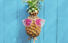 Picture beach, summer, stay, glasses, summer, pineapple, beach, vacation, wood, paradise, pineapple, tropical, sunglasses