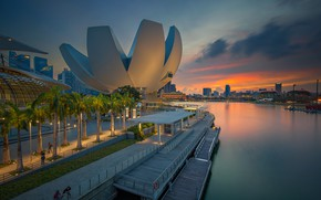 Picture the building, the evening, Singapore