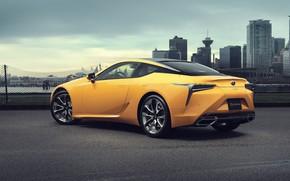 Picture yellow, the city, lights, Lexus, wheel, LC 500, Lexus LC 500, Inspiration Series, Lexus LC …