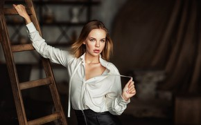 Picture look, girl, ladder, blouse, brown hair, ladder, Anastasia Barmina, Anastasia Barmina
