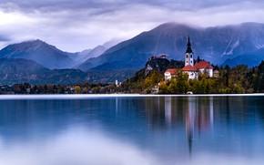 Picture mountains, shore, Austria, Church, pond, Hallstatt