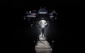 Picture bridge, people, camera