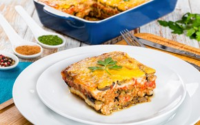 Picture cheese, eggplant, spices, casserole, moussaka