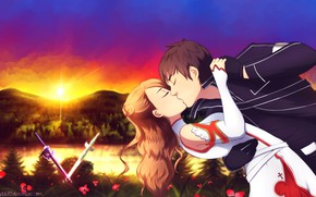 Picture kiss, anime, art, guy, Sword art online, Sword Art Online, Asuna, Kirito