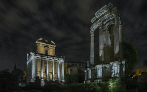 Picture night, lights, Rome, Italy, Императорские форумы