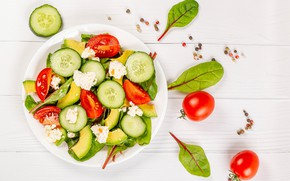 Picture plate, tomatoes, cucumbers, salad