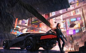 Picture The game, City, Weapons, Car, Art, Rain, Neon, Keanu Reeves, Keanu Reeves, CD Projekt RED, ...