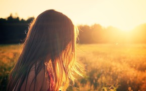 Picture field, sunset, Girl