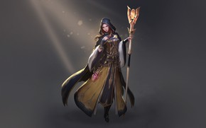 Picture Girl, Fantasy, Art, Style, Lights, Characters, Sorceress, Cleric, Staff, Heewon Kang