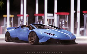 Picture Auto, Blue, Machine, Blue, Supercar, Sports car, Lamborghini Huracan, Transport & Vehicles, Javier Oquendo, by …