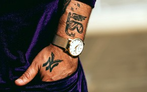 Picture watch, hand, male, tattoo, in the pocket