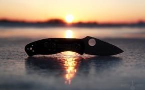 Picture ice, the sun, sunset, nature, knife, Spyderco, холоное оужие, persistence