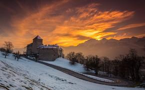 Picture winter, road, snow, landscape, sunset, mountains, castle, Alps, Liechtenstein, Vaduz