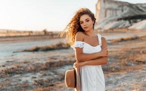 Picture look, girl, pose, hat, hands, curls, sundress, Alina Zaslavska, Антон Сваровский