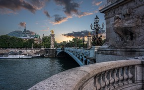 Picture the city, river, France, Paris, home, lights, Hay, columns, Pont Alexandre III