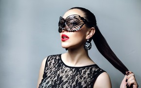 Picture decoration, pose, style, background, makeup, brunette, mask, hairstyle, outfit, beauty, ponytail, in black