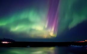 Picture ice, lights, shore, Northern lights, полярный городок