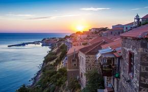 Picture sea, sunset, coast, home, Greece, town, Митимна, Моливос