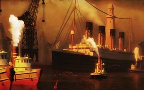 Picture The ocean, Port, Figure, Titanic, The ship, Nose, Art, Painting, Titanic, Tank, Tugs, RMS Titanic, …