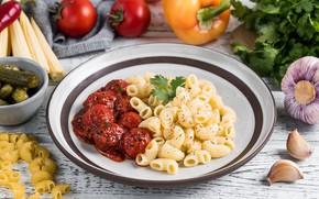 Picture pepper, cucumbers, garlic, pasta, meatballs