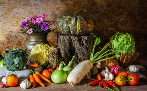 Picture autumn, harvest, pumpkin, still life, vegetables, flowers, autumn, still life, pumpkin, vegetables, harvest