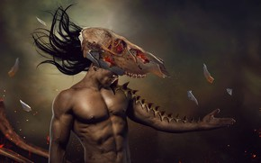 Picture background, skull, guy