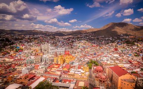 Picture the sky, the sun, clouds, landscape, mountains, the city, home, Mexico, panorama, the view from …