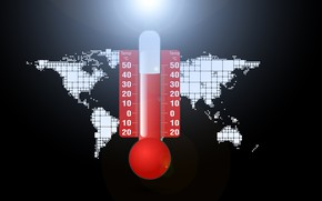 Picture the problem, planet, thermometer, temperature, climate change