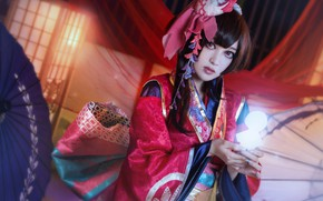 Wallpaper look, girl, light, red, face, pose, style, lights, background, portrait, hands, makeup, brunette, hairstyle, costume, ...