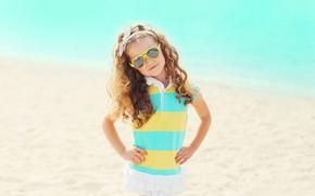 Picture sea, the sun, dress, glasses, girl