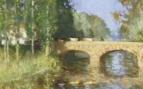 Picture landscape, picture, Pierre Eugène Montesin, Pierre-Eugene Montezin, The bridge over the River
