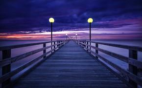 Picture sea, the sky, sunset, lights, pierce