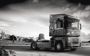 Wallpaper road, rocks, vegetation, desert, truck, Renault, cacti, Route 66, Magnum, tractor, 4x2, Renault Trucks