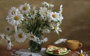 Picture chamomile, bouquet, still life