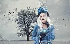 Picture winter, frost, field, girl, snow, landscape, birds, blue, nature, face, pose, tree, blue, Gothic, magic, …
