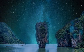 Picture sea, the sky, space, stars, trees, night, rocks, vegetation, boats, The milky way, pond
