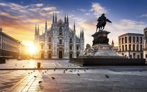 Picture the sun, the evening, Italy, monument, Milan, The Duomo of Milan, The Cathedral Of The …
