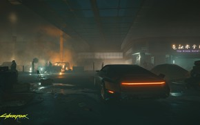 Picture machine, people, smoke, garage, Cyberpunk 2077, Cyberpunk