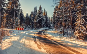 Picture winter, road, turn