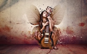Picture girl, guitar, wings