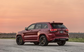 Picture sunset, the evening, rear view, 2018, Hennessey, Jeep, Grand Cherokee, Trackhawk, HPE1000