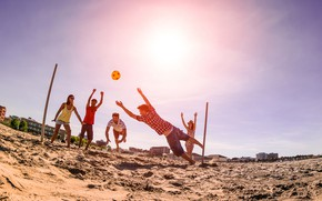 Picture sand, beach, the sun, joy, girls, mood, the ball, guys, play, volleyball, have fun