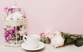 Picture flowers, roses, bouquet, pink, flowers, coffee cup, roses, Cup and saucer