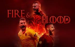 Picture wallpaper, sport, fire, blood, football, player, AS Roma, Daniele De Rossi