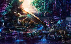 Picture dragon, mystic, elves, miracles, fairy forest, fawn