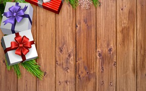 Picture branch, New Year, Christmas, gifts, needles, box