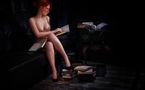 Picture chest, girl, books, glasses, legs, typewriter, Elvira Pozdnysheva, Alexander Drobkov-Dark