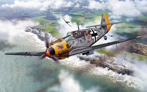 Picture Messerschmitt, Me-109, Battle of Britain, Bf.109, Luftwaffe, single-engine piston fighter-low