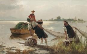 Picture 1880, German painter, German painter, oil on canvas, Carl Raup, Karl Raupp, Chiemseefischer, Fishermen on …